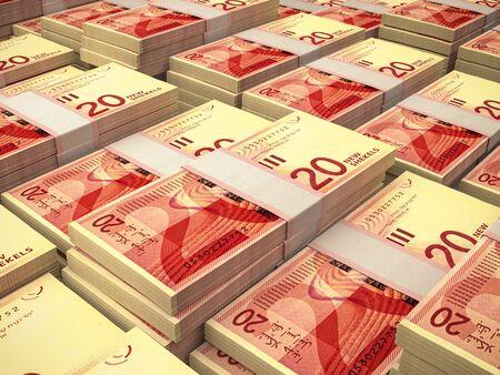 ILS. Israelische neue Schekel. Geld von Israel... Geschäftshintergrund. Nahaufnahmefoto. Standard-Bild