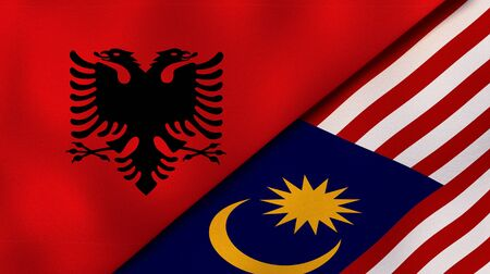 Two states flags of Albania and MalaysiaHigh quality business background. 3d illustration