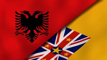 Two states flags of Albania and NiueHigh quality business background. 3d illustration