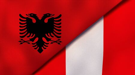 Two states flags of Albania and PeruHigh quality business background. 3d illustration