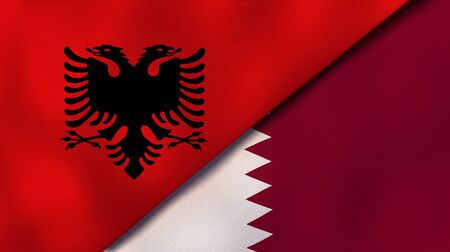Two states flags of Albania and QatarHigh quality business background. 3d illustration Reklamní fotografie