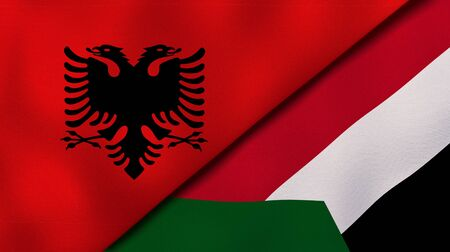 Two states flags of Albania and SudanHigh quality business background. 3d illustration Reklamní fotografie