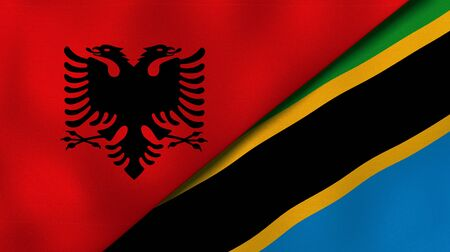 Two states flags of Albania and TanzaniaHigh quality business background. 3d illustration