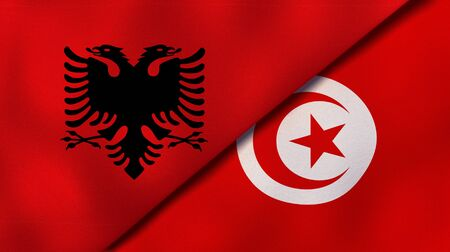 Two states flags of Albania and TunisiaHigh quality business background. 3d illustration Stock fotó