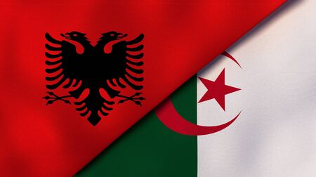 Two states flags of Albania and AlgeriaHigh quality business background. 3d illustration