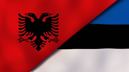Two states flags of Albania and EstoniaHigh quality business background. 3d illustration Reklamní fotografie
