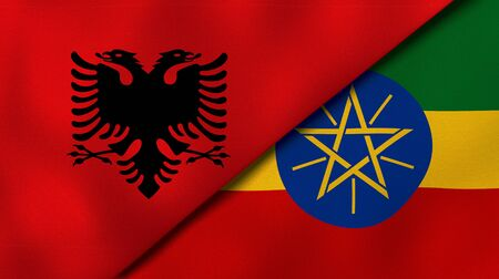 Two states flags of Albania and EthiopiaHigh quality business background. 3d illustration