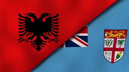 Two states flags of Albania and FijiHigh quality business background. 3d illustration