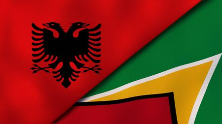 Two states flags of Albania and GuyanaHigh quality business background. 3d illustration