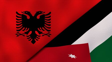 Two states flags of Albania and JordanHigh quality business background. 3d illustration