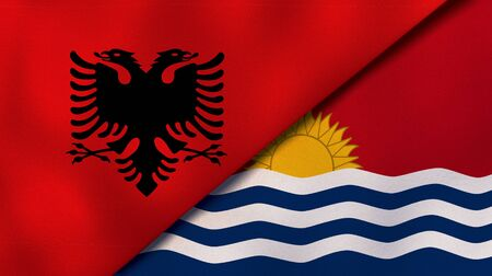 Two states flags of Albania and KiribatiHigh quality business background. 3d illustration Stock fotó