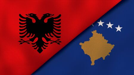 Two states flags of Albania and KosovoHigh quality business background. 3d illustration