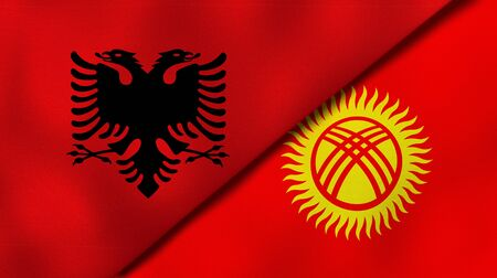 Two states flags of Albania and KyrgyzstanHigh quality business background. 3d illustration