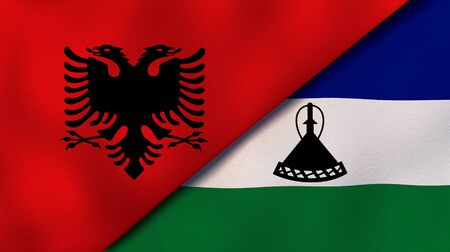 Two states flags of Albania and LesothoHigh quality business background. 3d illustration Reklamní fotografie