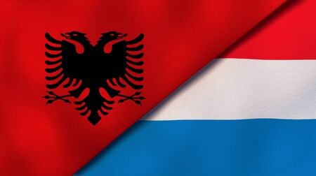Two states flags of Albania and LuxembourgHigh quality business background. 3d illustration