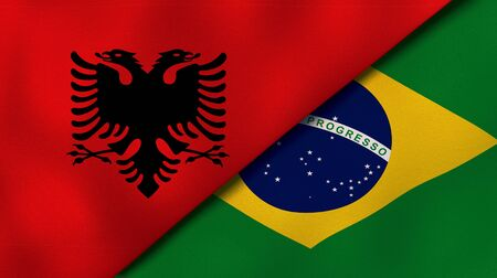 Two states flags of Albania and BrazilHigh quality business background. 3d illustration