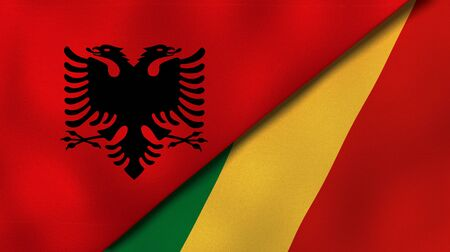 Two states flags of Albania and CongoHigh quality business background. 3d illustration