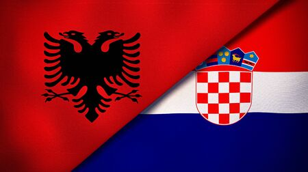 Two states flags of Albania and CroatiaHigh quality business background. 3d illustration Stock Photo