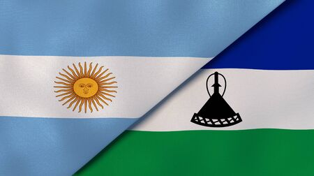 Two states flags of Argentina and Lesotho. High quality business background. 3d illustration