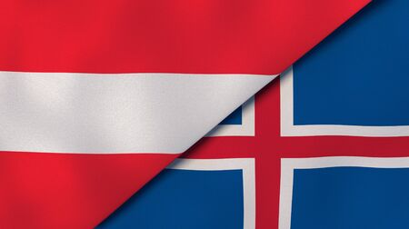 Two states flags of Austria and Iceland. High quality business background. 3d illustration Banco de Imagens
