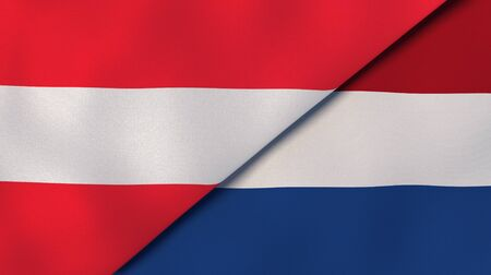 Two states flags of Austria and Netherlands. High quality business background. 3d illustration
