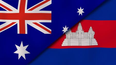 Two states flags of Australia and Cambodia . High quality business background. 3d illustration