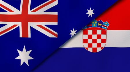Two states flags of Australia and Croatia. High quality business background. 3d illustration