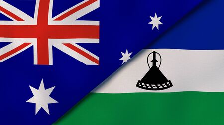 Two states flags of Australia and Lesotho. High quality business background. 3d illustration