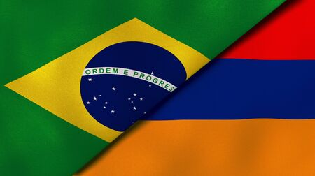 Two states flags of Brazil and Armenia. High quality business background. 3d illustration Imagens