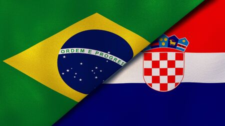 Two states flags of Brazil and Croatia. High quality business background. 3d illustration