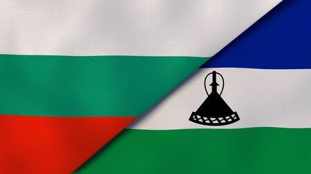 Two states flags of Bulgaria and Lesotho. High quality business background. 3d illustration Stock fotó