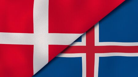 Two states flags of Denmark and Iceland. High quality business background. 3d illustration Banco de Imagens