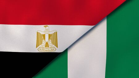 Two states flags of Egypt and Nigeria. High quality business background. 3d illustration Banco de Imagens