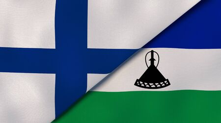 Two states flags of Finland and Lesotho. High quality business background. 3d illustration Stock fotó