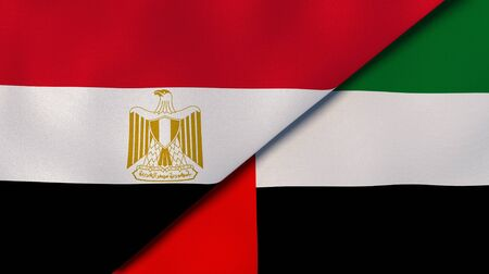 Two states flags of Egypt and United Arab Emirates. High quality business background. 3d illustration