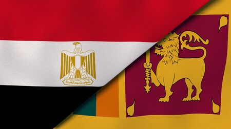 Two states flags of Egypt and Sri Lanka. High quality business background. 3d illustration