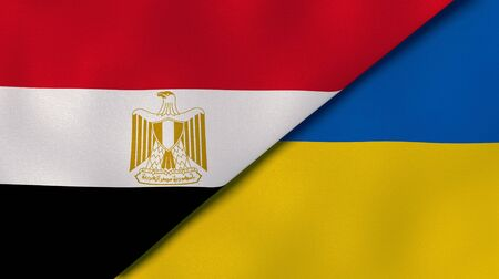 Two states flags of Egypt and Ukraine. High quality business background. 3d illustration Banco de Imagens