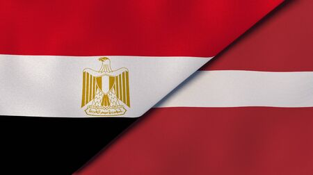 Two states flags of Egypt and Latvia. High quality business background. 3d illustration Banco de Imagens