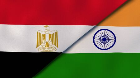 Two states flags of Egypt and India. High quality business background. 3d illustration