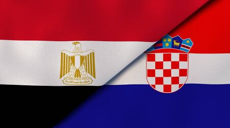 Two states flags of Egypt and Croatia. High quality business background. 3d illustration Stock Photo