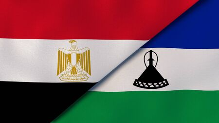 Two states flags of Egypt and Lesotho. High quality business background. 3d illustration