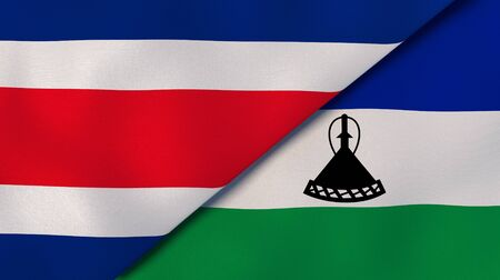 Two states flags of Costa Rica and Lesotho. High quality business background. 3d illustration Stock fotó