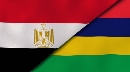 Two states flags of Egypt and Mauritius. High quality business background. 3d illustration
