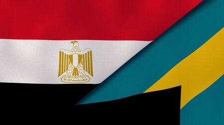 Two states flags of Egypt and Bahamas. High quality business background. 3d illustration