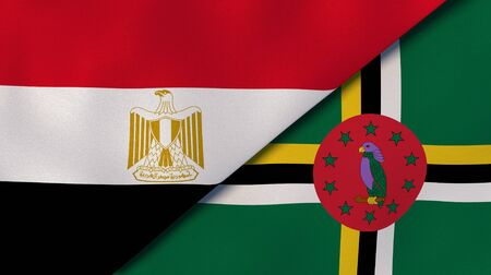Two states flags of Egypt and Dominica. High quality business background. 3d illustration