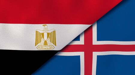 Two states flags of Egypt and Iceland. High quality business background. 3d illustration Banco de Imagens