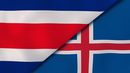 Two states flags of Costa Rica and Iceland. High quality business background. 3d illustration Banco de Imagens
