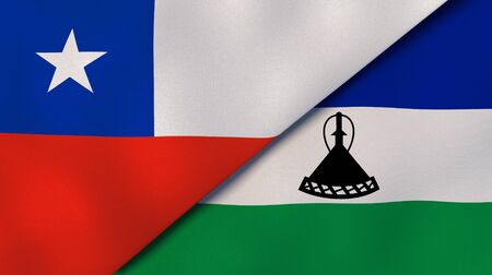 Two states flags of Chile and Lesotho. High quality business background. 3d illustration
