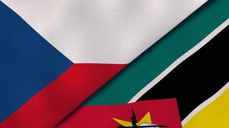 Two states flags of Czech Republic and Mozambique. High quality business background. 3d illustration
