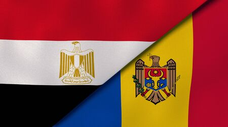 Two states flags of Egypt and Moldova. High quality business background. 3d illustration